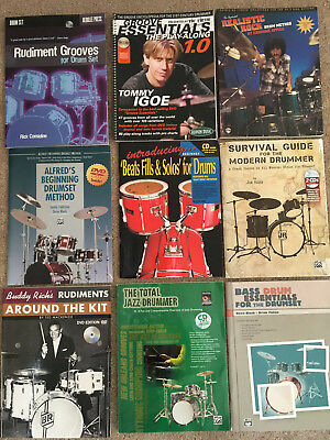 Jazz and Rudiment Drum Instruction book lot Buddy Rich Tommy Igoe