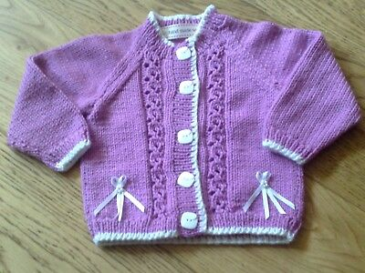 Hand knitted  mauve cardigan 3-6 months new