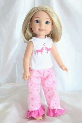 Dress Outfit fits 14inch American Girl Wellie Wishers Doll Clothes Unicorn Heart