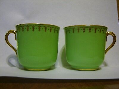 Coalport Demitasse Cups Green and Gold - Made in England - Set of 2 - no saucers