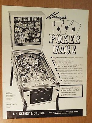 "1950's Keeney's ""POKER FACE"" Pinball Advertising Flyer"