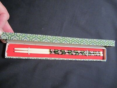 Floral Chopsticks Plastic New In Padded Top Box
