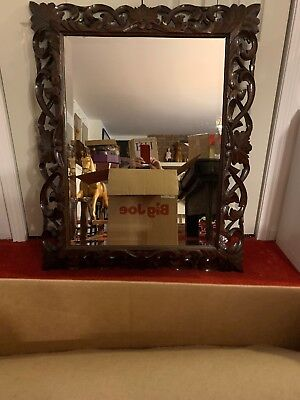 ANTIQUE RARE Hand Carved & Pierced Solid Walnut Frame Mirror Stamped 1883 FRENCH