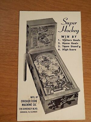 "1940's Chicago Coin's ""SUPER HOCKEY"" Pinball Advertising Post Card Flyer"