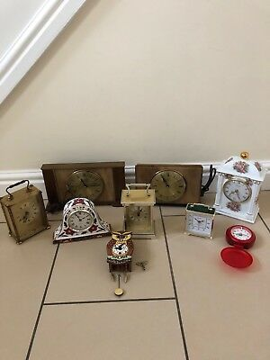 Large Lot Of 9 X Vintage And Later Clocks