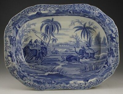 """Antique Pottery Pearlware Blue Transfer Spode Indian Sporting 11"""" Pie Dish 1810"""
