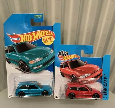 Hot Wheels Hw City 2014 2x 1990 Honda Civic EF Red & Blue