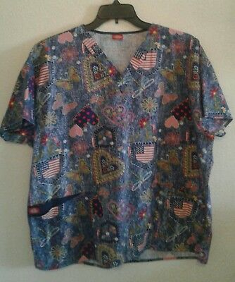 Dickies Medical Scrub Top 3XL Hearts Valentines Flags Floral Two Pocket V Neck