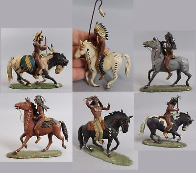 3 RARE Gigi Roume Miniature Lead Western American Indian Warriors & Horses