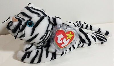 "TY Beanie Babies ""BLIZZARD"" the WHITE BENGAL TIGER Cat - MWMTs! Perfect Gift!"