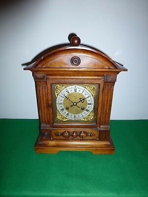 Antique German Ting Tang Walnut Bracket Clock