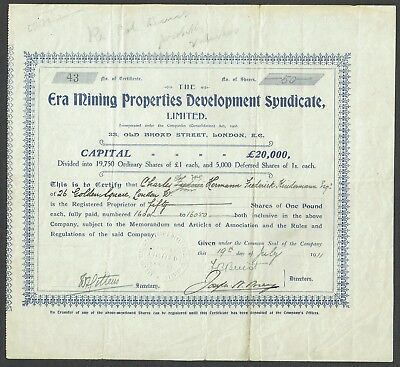 Australia, Era Mining Properties Development Syndicae Ltd. Share certificate