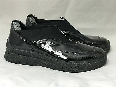 Ecco Black Patent Leather Shoes Women's Size EUR 37 Slip On Rugged Wear