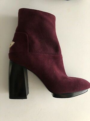 59fd7efc891 NEW TORY BURCH  SIDNEY  Suede Stretch Ankle Boots Short Booties Burgundy SZ  10
