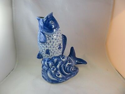 Gurgling Fish - Blue And White Vase or Planter
