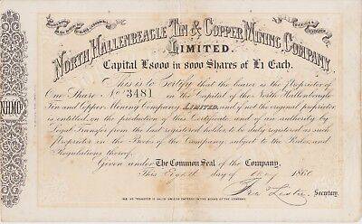 Cornwall, North Hallenbeagle Tin and Copper Mining Co. Ltd. Share certificate