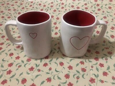"""1 Rae Dunn Dunn Large Letters by Magenta """"HEART"""" Mug Cup Double Sided Red Inside"""