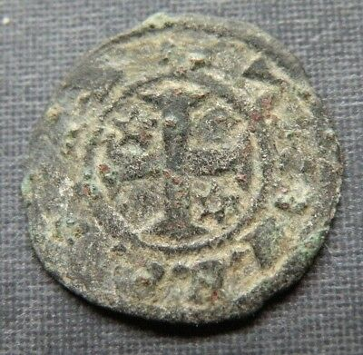 Medieval Crusader Cross Coin Antique 1250-1350AD Europe Templar Billon Stars **