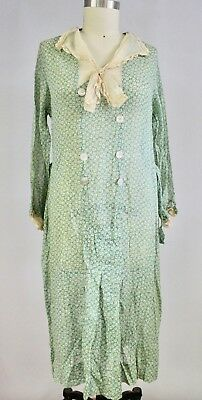 1930s Cotton Gauze House Dress Green Print M L Antique Vintage L'Aiglon