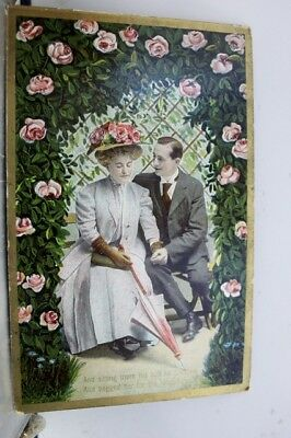 Greetings Sitting There His Suit Begged Her Postcard Old Vintage Card View Post
