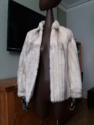 Genuine Vintage Real Cross Mink Fur Jacket Coat Blonde Black leather small