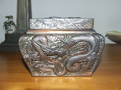 Antique Dragon Oriental Copper Japanese Tea Caddy Cannister