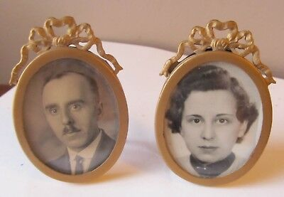 Pair Lovely SMALL Antique GOLD METAL PICTURE FRAMES Oval FRENCH BOWS Easel Stand