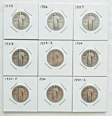 Lot of 9 Standing Liberty Quarters 25c Different Dates Or Mint Marks