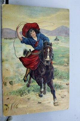 Greetings Cowgirl on Horse Postcard Old Vintage Card View Standard Souvenir Post
