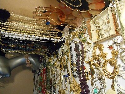 MIXED LOT OF ANTIQUE VINTAGE COSTUME +STERLING+ GOLD filled, GOLD JEWELRY