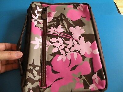 White Dove Designs Bible Cover Carrying Case pink brown floral New K12