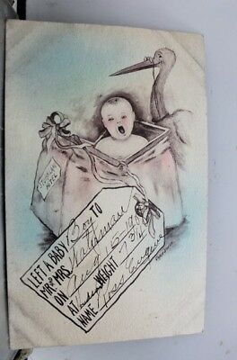 Greetings Left A Baby Boy Postcard Old Vintage Card View Standard Souvenir Post