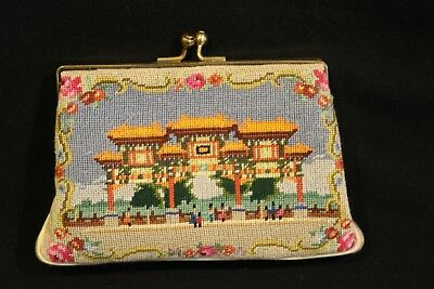 """Petit Point Coin Change Purse Japanese Pagoda  3"""" X 4 3/4"""" X 3/4"""""""