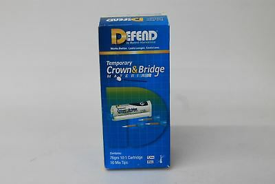 DEFEND 76gm Temporary Crown & Bridge Silicone Material w 10 Mixing Tips BNIB