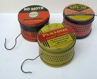 Collection of 3 Vintage Moth Closet Hanging Tins (empty)