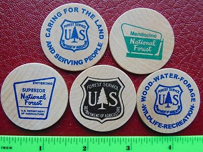 Superior, Mendocino, Lolo, Medicine Bow, National Forest Wooden Nickels