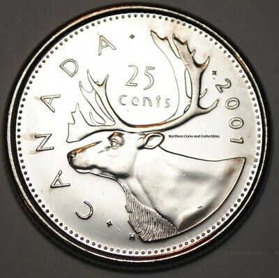 Canada 2001 P 25 cents Nice UNC from roll - BU Canadian Caribou Quarter