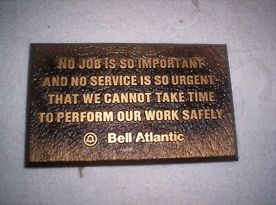 Vintage Bell System/bell Atlantic Safety Sign/placard New!!!!