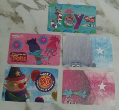 Five Different Troll Gift Cards, Macy's, Walmart, Toys R Us, Collectible, Mint