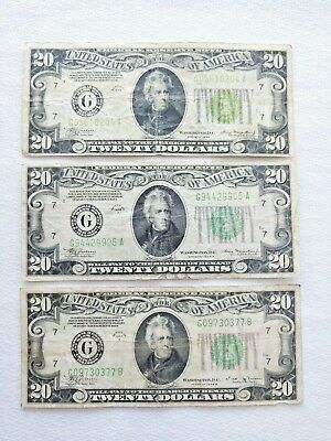 Lot of 3 1934 $20 Federal Reserve Notes 1934-1934A-1934B Chicago Illinois