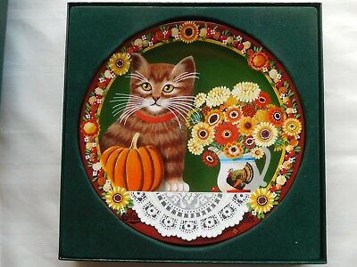 Uncle Tad's Holiday Cats Anna Perenna Thaddeus Krumeich Pumpkins Plate