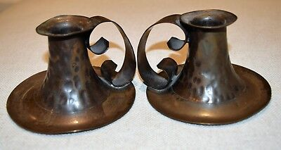 MATCHED PAIR Antique ARTS+CRAFTS MISSION HAMMERED COPPER CANDLE HOLDERS