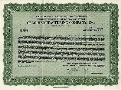 Ceco Manufacturing of Rhode Island 1930 Fractional 30/50ths Share Certificate