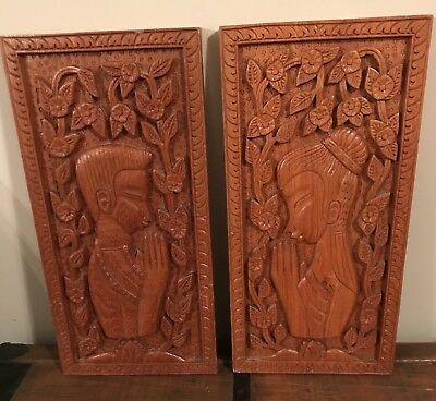 PAIR Mid-Century Modern Teak Asian Carved wood Wall ART Pictures Sculptures