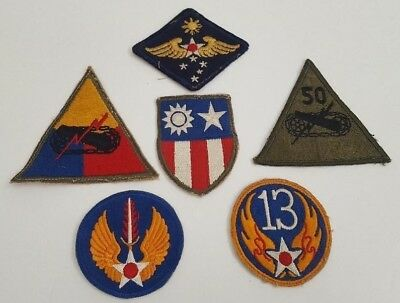 Collection Of Six WWII US Army Patches ARMOR SCHOOL Military Armored Tank Orig.