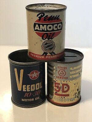 Lot of 3 Vintage Oil Can Banks Veedol Cities Service Penn Amoco