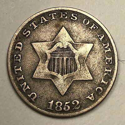 1852 Silver Trimes - Three Cent 3c Coin - VF - Contrast!