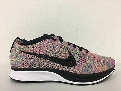 b96030b8e195 Nike Flyknit Racer Multicolor Dark Grey Tongue 526628-004 Mens 5 Womens 6.5