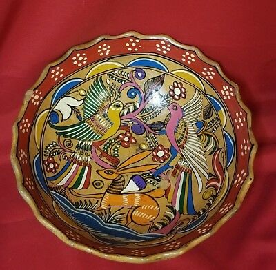 """ANTIQUE ORNATE 10 5/8"""" HAND PAINTED Mexican Terra Cotta Clay Pottery Footed Bowl"""