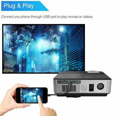 HD LED Projector Video Home Theater Synchronize Smart phone Screen By USB Cable
